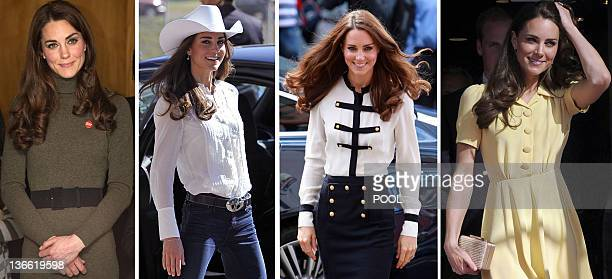 A combo of file pictures created on Janaury 9 2012 shows Britain's Catherine Duchess of Cambridge attending a performance during a visit to...