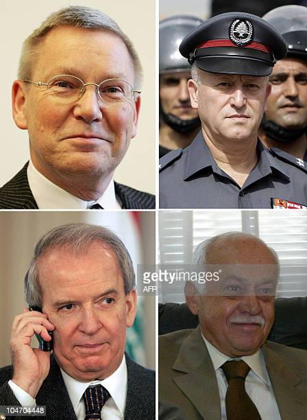 A combo of file pictures shows Detlev Mehlis the German prosecutor who led the early stages of the UN investigation into Lebanese Prime Minister...