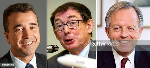 Combo of file portraits of Lagardere CEO Arnaud Lagardere Airbus chief executive Noel Forgeard and EADS cochairman Philippe Camus Noel Forgeard CEO...
