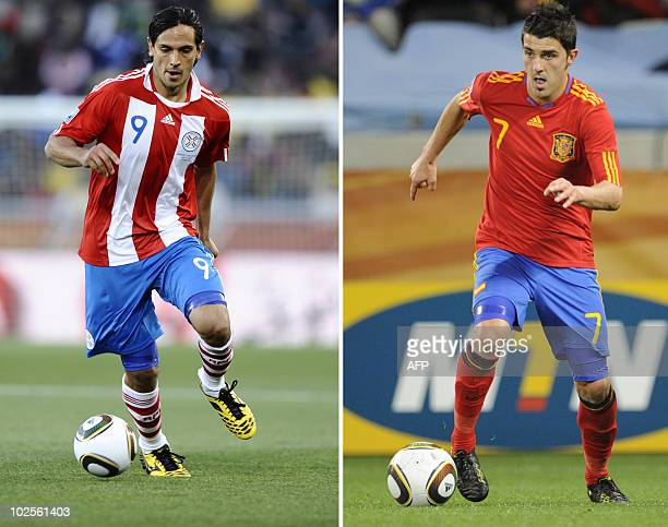A combo of files pictures shows Paraguay's striker Roque Santa Cruz and Spain's forward David Villa during the World Cup 2010 in South Africa...