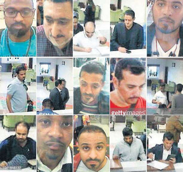 A combo of frame grabs created on October 10 2018 and taken off a police CCTV video made available through the Turkish Newspaper Sabah allegedly...