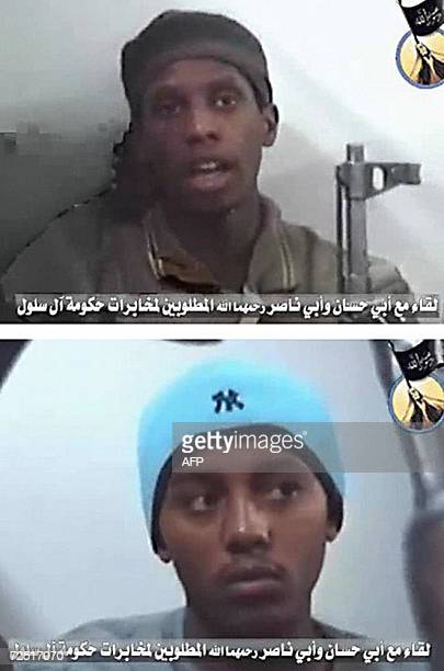 A combo of image grabs from a video posted on the internet site of the Mujaheddin Consultative Council in Iraq late 13 May 2006 shows two members of...