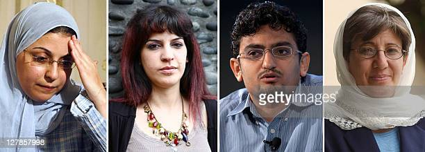 A combo of images showing Egyptian Israa Abdel Fattah Tunisian blogger Lina Ben Mhenni Egyptian Google executive Wael Ghonim and Afghan human rights...