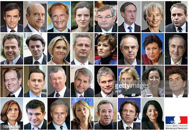 Combo of members of the French government after the cabinet reshuffle on February 27, 2011. - Prime minister Francois Fillon, Foreign Affairs...