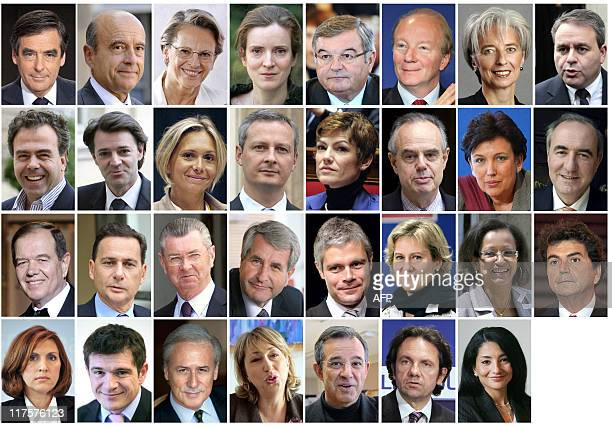 Combo of members of the French government named on November 14, 2010. - Prime minister Francois Fillon, Defence and Veterans minister Alain Juppe,...
