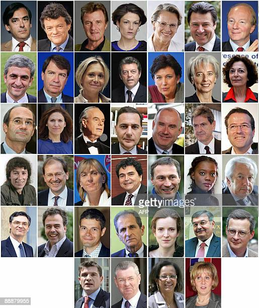 Combo of members of the new French government named on June 23, 2008. Prime minister Francois Fillon, minister for Ecology, sustainable development...