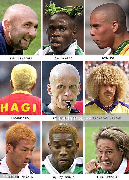 Combo of nine pictures showing some of the World Cup soccer players with different hairdos From L top to bottom Fabien Barthez Taribo West Ronaldo...