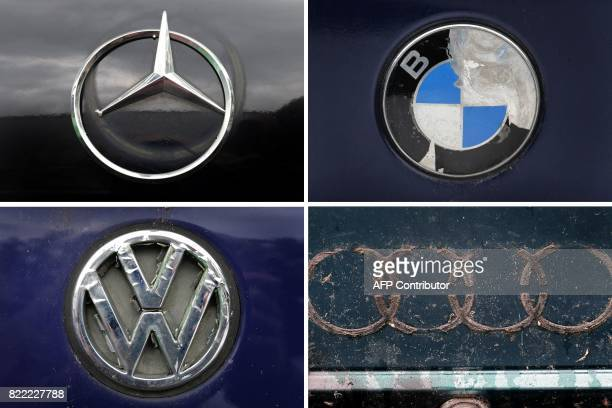 Combo of picture taken on July 25 2017 at a scrap yard in Betzigau southern Germany shows damaged logos and traces of logos of German car brands...