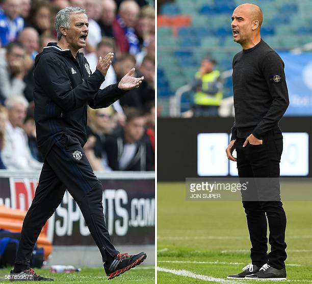 A combo of pictures created in London on August 8 2016 shows Manchester United's Portuguese manager Jose Mourinho shouting instructions to his...