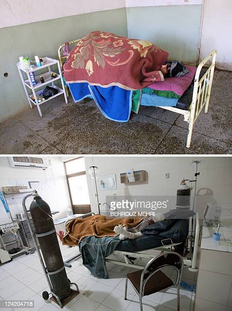 A combo of pictures created on September 9 2011 shows eighteenyearold Afghan woman Fatemeh who committed selfimmolation lying in a hospital at Herat...
