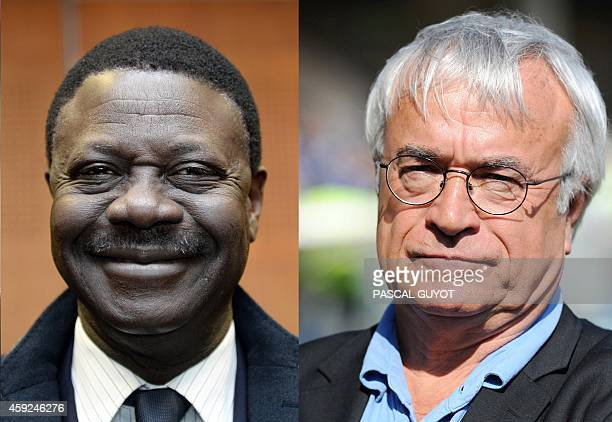 A combo of pictures made on November 19 2014 in Paris shows Olympique of Marseille former president Pape Diouf posing in Marseille on February 4 and...