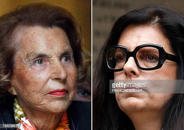 Combo of pictures made on October 17 2011 in Paris shows French Billionaire L'Oreal heiress Liliane Bettencourt and her daughter Francoise...