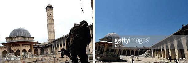 A combo of pictures shows a rebel fighter standing in front of the minaret of Aleppo's ancient Umayyad mosque in the UNESCOlisted northern Syrian...