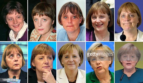 Combo of pictures shows Angela Merkel now German Chancellor pictured in 1991 1997 2000 and 2001 2009 2013 Merkel often voted Germany's most popular...