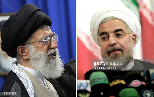 A combo of recent file pictures shows Iran's supreme leader Ayatollah Ali Khamenei addressing the faithful at the weekly Muslim Friday prayers at...