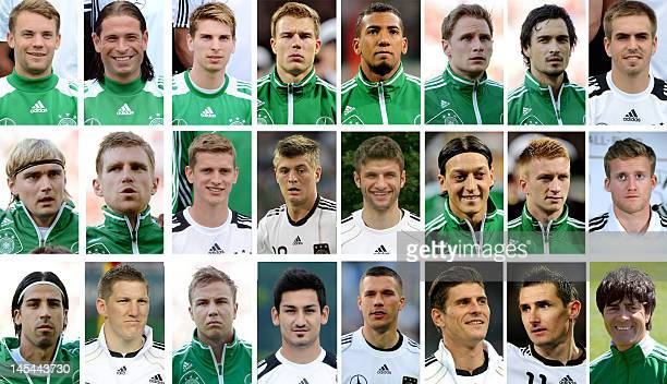A combo of recent pictures shows German national football team's goalkeepers Manuel Neuer Tim Wiese RonRobert Zieler defenders Holger Badstuber...
