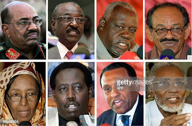 Combo of recent pictures taken in the Sudanese capital Khartoum shows portraits of the eight candidates running in the Sudanese presidential election...