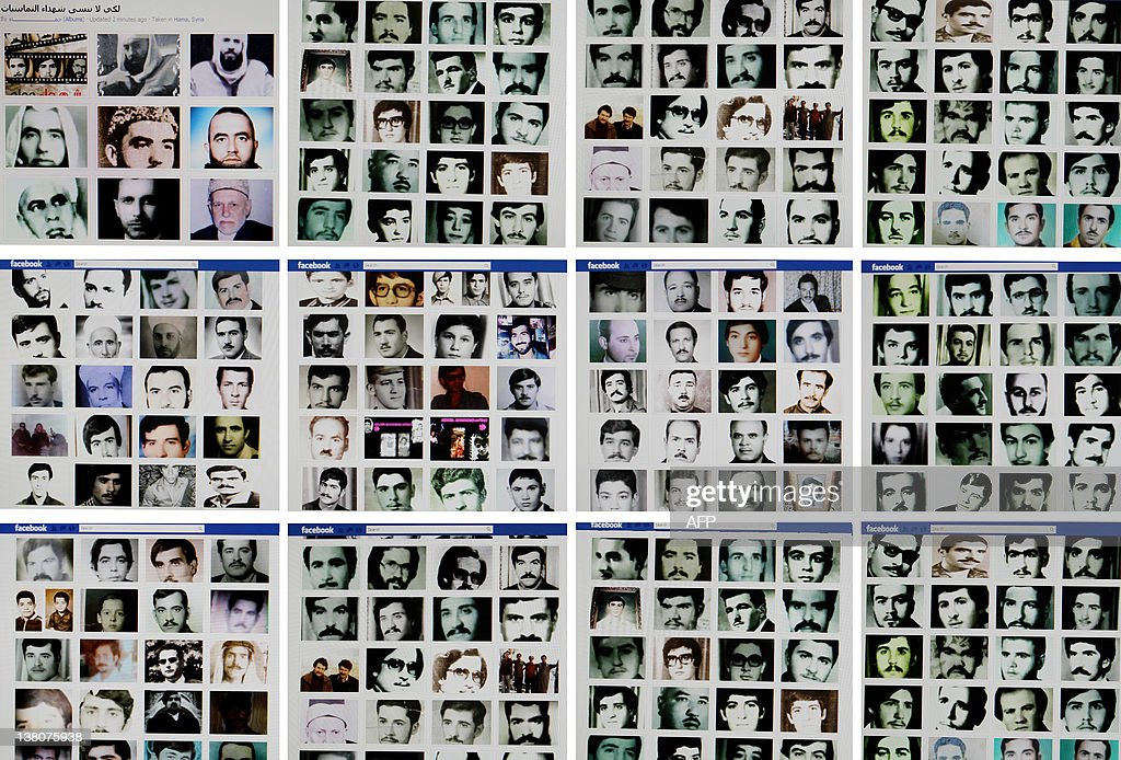 A combo of reproduction pictures taken on February 2, 2012 in the Lebanese capital Beirut shows portraits of people allegedly killed during the 1982 Hama massacre on a Facebook page entitled 'Hama' described as a page run by independent citizens of the central Syrian city. Syria's opposition called protests to mark the 30th anniversary of the Hama massacre, as Arab and Western countries moved closer to agreement on action to halt a regime crackdown on dissent.