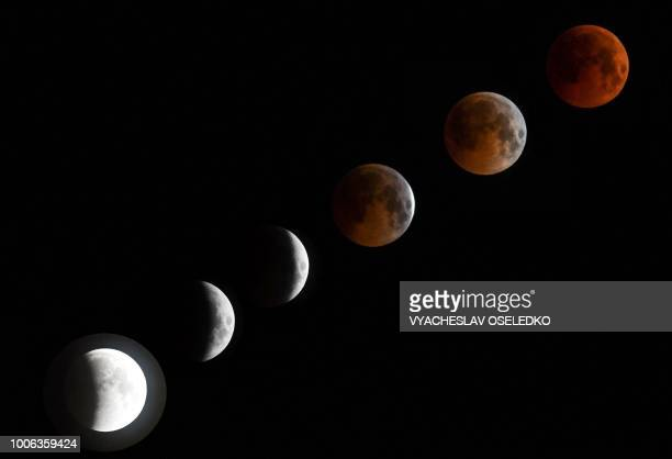 TOPSHOT A combo of six pictures shows a 'blood moon' total lunar eclipse in Bishkek late on July 27 2018 The longest blood moon eclipse this century...