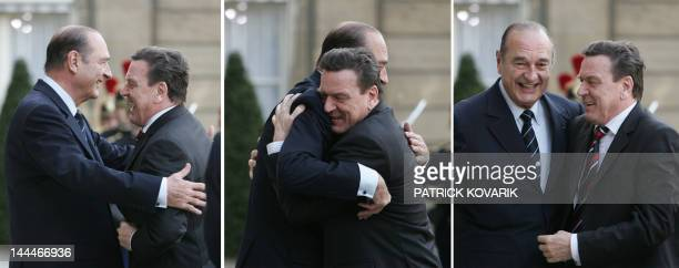 Combo of three pictures showing French President Jacques Chirac welcoming German Chancellor Gerhard Schroeder 18 March 2005 at the Elysee Palace in...