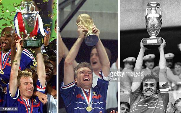 Combo of three pictures taken 02 July 2000 in Rotterdam, 12 July 1998 in Saint-Denis, north of Paris, and 27 June 1984 at the Parc des princes...