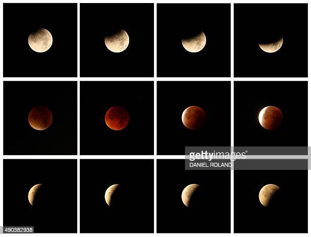 A combo of twelve pictures shows a total lunar eclipse in Gaiberg near Heidelberg southwestern Germany on September 28 2015 Skygazers were treated to...