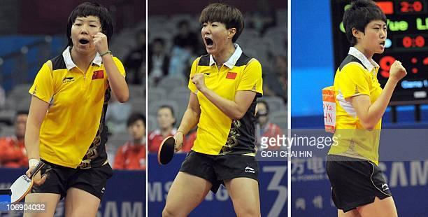 Combo photo shows Chinese women paddlers Li Xiaoxia, Guo Yan and Guo Yue celebrating their victories over Wang Yuegu, Feng Tian Wei and Li Jiawei of...