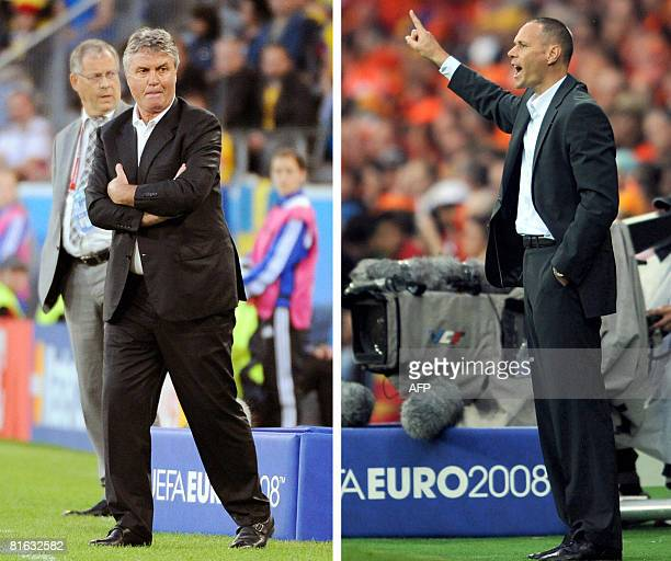 Combo photo shows Dutch coach Marco van Basten during the match against Romania on June 17 2008 in Bern and Dutch coach of the Russian national...