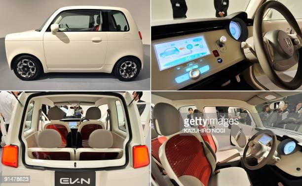 A combo photo shows Honda Motor's concept vehicle the EVN battery electric vehicle for the upcoming Tokyo Motor Show at a press preview in Tokyo on...