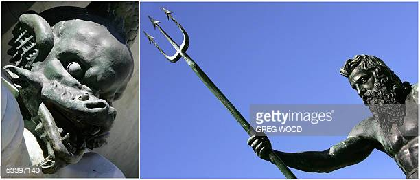 Combo photo shows two contrasting figures, Neptune and a gargoyle , form part of the Captain Phillip monument in Sydney, 17 August 2005. The...