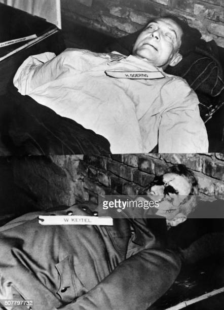 A combo photo taken on October 1946 shows the bodies of nazi criminals Hermann Goering and Wilhelm Keitel executed after their trial for war crimes...