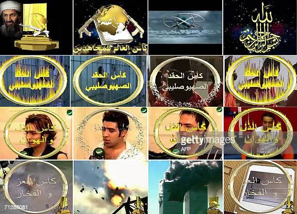 CORRECTIONA combo picture grabbed from a video posted by the Global Islamic Media Center on the Internet 23 June 2006 shows Different graphic logos...