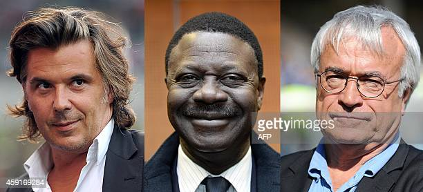 A combo picture made on November 18 2014 in Paris shows Olympique de Marseille football club president Vincent Labrune attending a French L1 football...