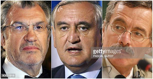 A combo picture made on September 12 2009 shows from L French journalist Serge July French former Prime Minister JeanPierre Raffarin and French judge...