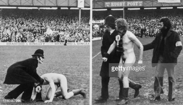 Combo picture of a streaker arrested on February 19, 1977 before the match France -England in Twickenham.
