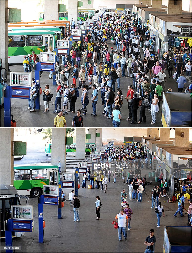 Combo picture of a view of Brasilia's bus station, taken on June 15, 2010, an hour before (top) and during (bottom) the FIFA World Cup South Africa 2010 football match between Brazil and North Korea. AFP PHOTO/Evaristo SA