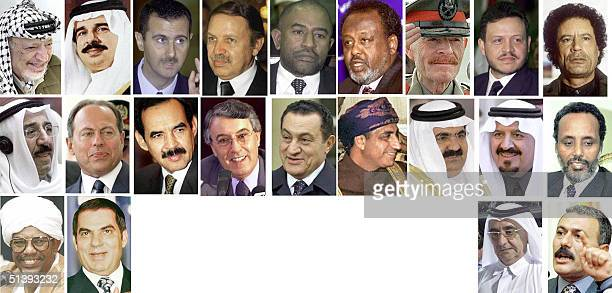 Combo picture of Arab leaders and delegation heads attending the Arab summit in the Jordanian capital Amman 2728 March 2001 From L to R Palestinian...