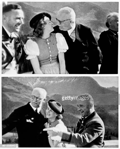 Combo picture of Eva Braun companion of Adolf Hitler surrounded by unidentified people in the 40s at the Berghof on the Obersalzberg the house of...