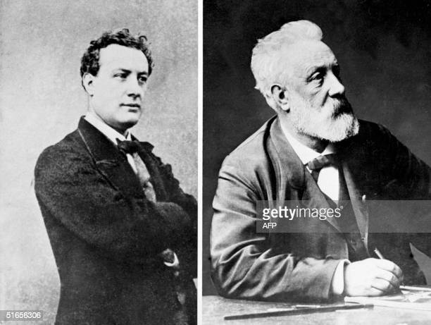 Combo picture of French writer Jules Verne the pioneer of the sciencefiction novel At the left the young Verne at the right Verne shortly before his...