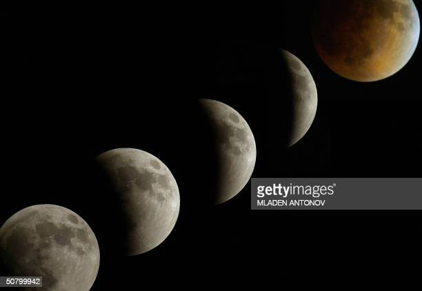 A combo picture of the phases of the moon from the beginning to the totality of the lunar eclipse 04 May 2004 AFP PHOTO / MLADEN ANTONOV