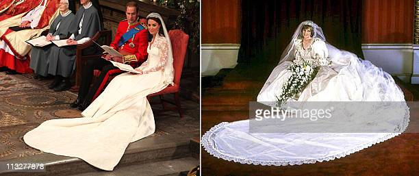 A combo picture show Princess Diana posing in her wedding dress on 29 July 1981 and Kate Duchess of Cambridge and her husband Prince William during...