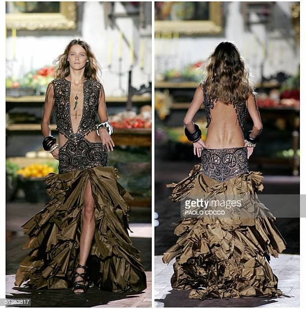 Combo picture shows a model wearing a creation as part of Roberto Cavalli's Spring/Summer 2005 women's collection at Milan fashion week, 01 October...