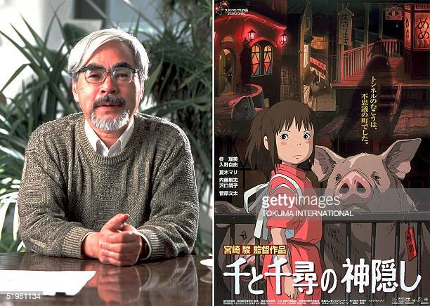 Combo picture shows a recent file photo of Japanese animation film director Hayao Miyazaki and a poster from his latest movie 'Sen to Chihiro no...