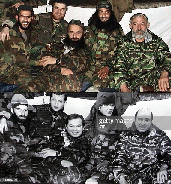 A combo picture shows an undated file photo of Chechen rebel leaders Shamil Basayev Aslan Maskhadov Abu Al Valid and two unidentified rebels...