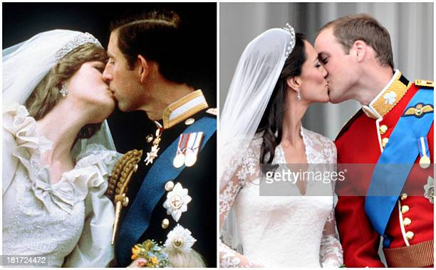 Combo picture shows Britain's Prince Charles kissing Diana Princess of Wales during their wedding in London on July 29 1981 and Britain's Prince...