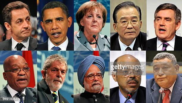 Combo picture shows France's President Nicolas Sarkozy US President Barack Obama Germany's Chancellor Angela Merkel Chinese Prime Minister Wen Jiabao...