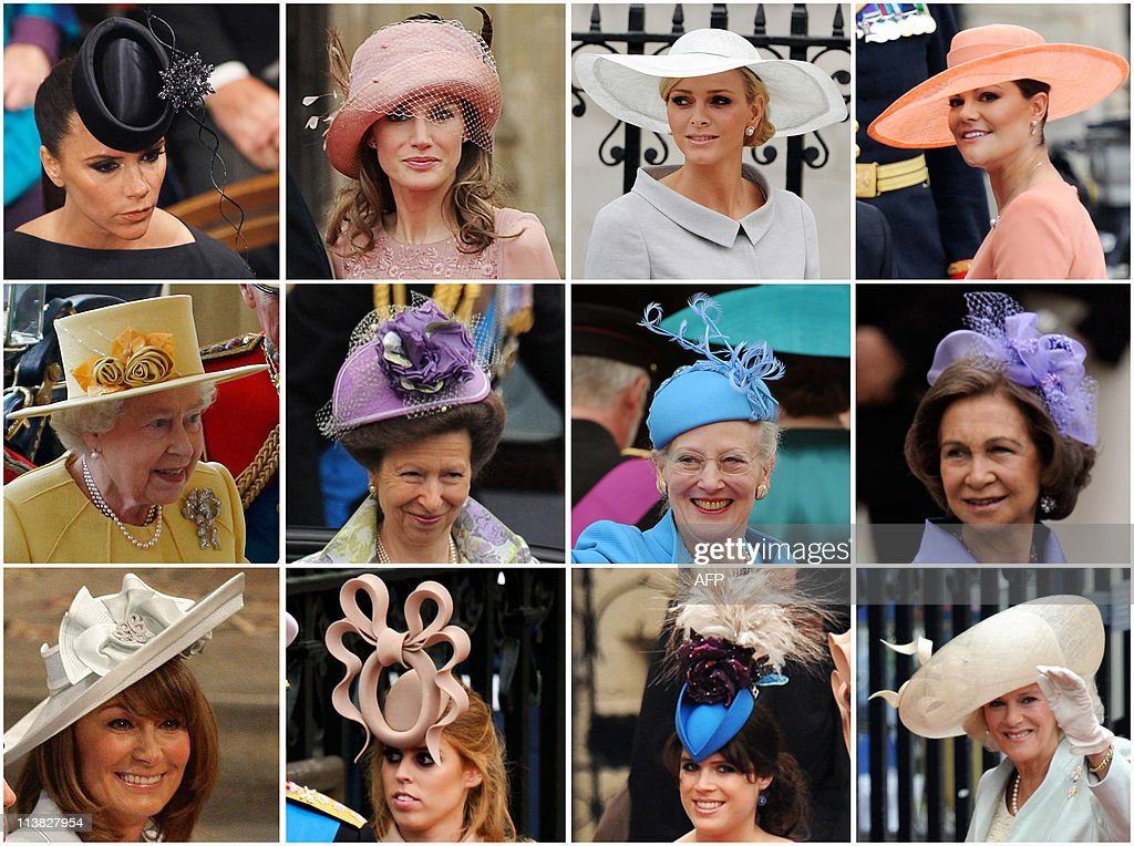 Combo picture shows guests wearing hats (From top L) Victoria Beckham, Princess Letizia, Charlene Wittstock, the fiancee of Prince Albert II of Monaco, Crown Princess Victoria of Sweden, Britain's Queen Elizabeth II, Anne, the Princess Royal, Queen Margrethe of Denmark, Queen Sofia of Spain, Carole Middleton, Kate's mother, Princess Beatrice, Princess Eugenie and Camilla, the Duchess of Cornwall arrive for the wedding ceremony of Prince William and Kate Middleton in London on April 29, 2011.