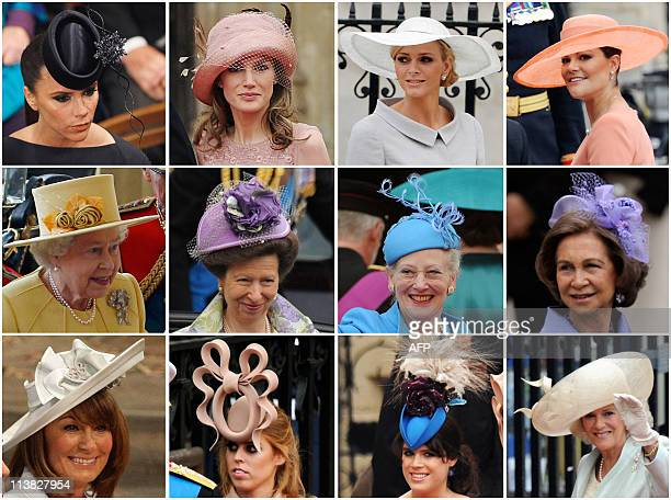 Combo picture shows guests wearing hats Victoria Beckham Princess Letizia Charlene Wittstock the fiancee of Prince Albert II of Monaco Crown Princess...