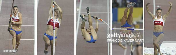 Combo picture shows Russia's Yelena Isinbayeva competing during the women's pole vault 26 August 2007 at the 11th IAAF World Athletics Championships...