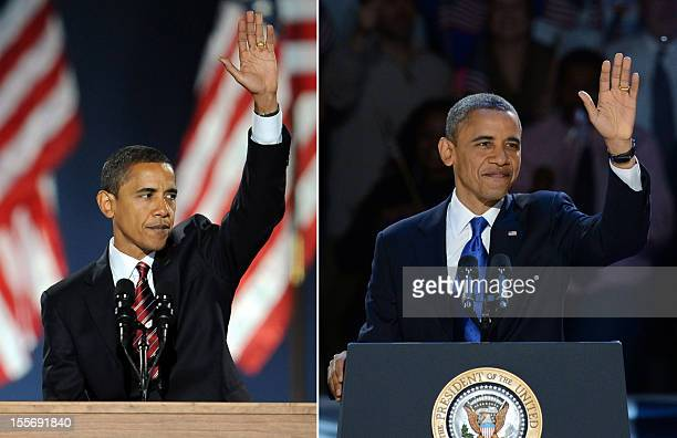 A combo picture shows the Democratic then presidential candidate Barack Obama waves to supporters during his election night victory rally at Grant...